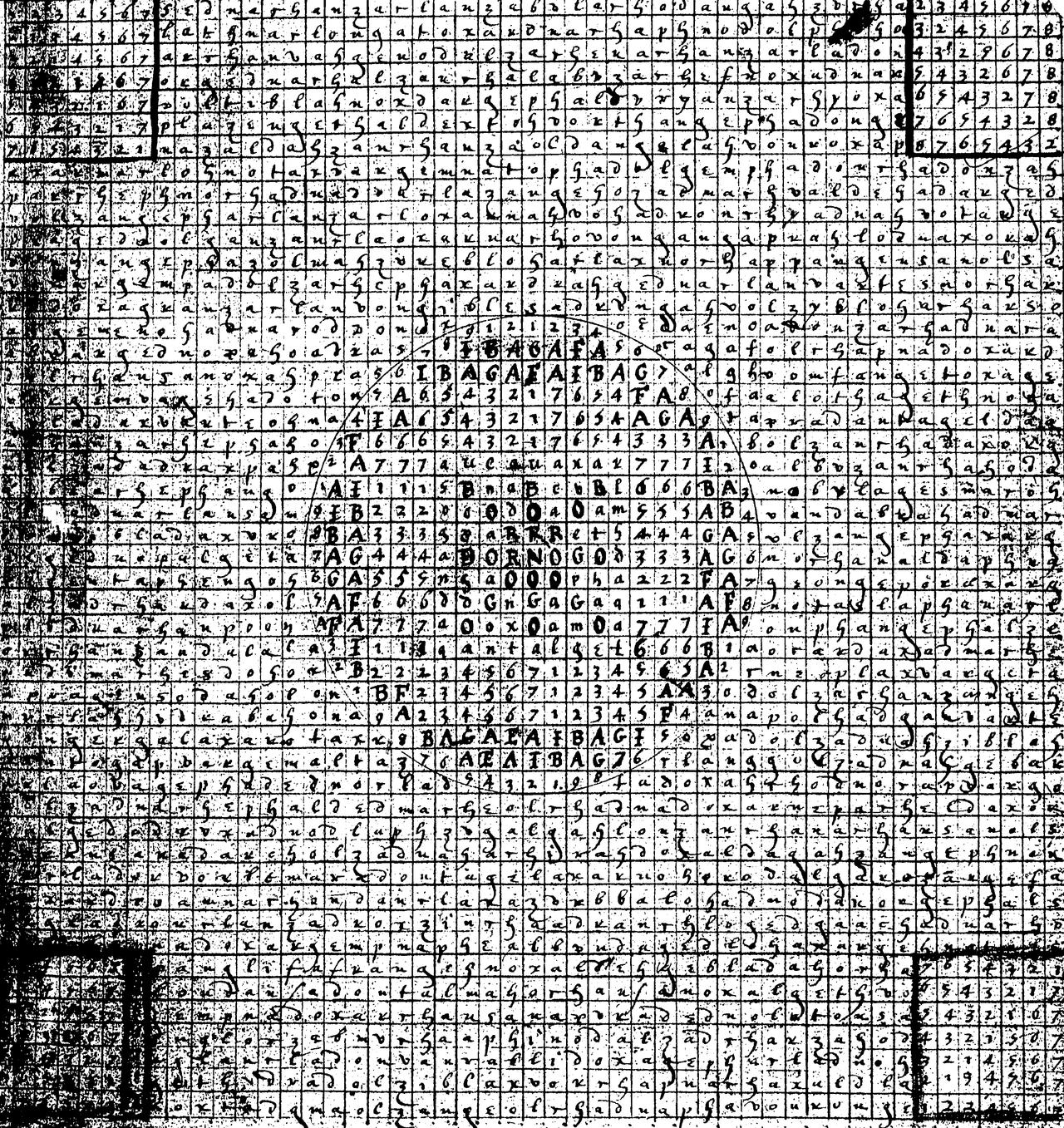 Exemple avec le <i>Liber Logaeth</i>, 101 grilles formant un livre, la plupart composés de 49◊49 lignes.