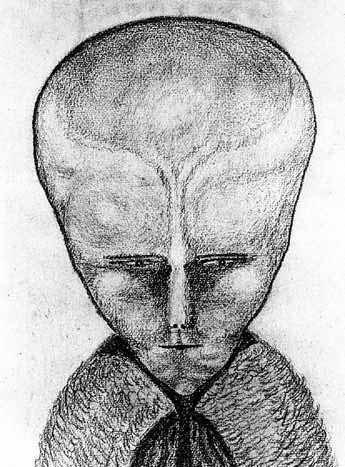 """Le dessin de LAM est un croquis d'Alister Crowley représentant une entité sur laquelle il s'est peu exprimé mais qu'on a finit par associer au «petit gris». <a href=""""https://www.kaosphorus.net/3929/lam-la-tete-au-toto-1""""/></a>"""