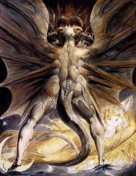 Le peintre William Blake a réalisé entre 1805 et 1810 quatre aquarelles mettant en scène le dragon rouge de l'Apocalypse de Jean.